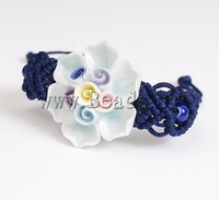 Free shipping!!!Porcelain Bracelet,Wholesale Jewelry, with Nylon Cord, Flower, handmade, 40-50mm, Length:7-10 Inch