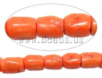 Free shipping!!!Natural Coral Beads,Jewelry Accessories, Tube, reddish orange, 10-14x11-17mm, Hole:Approx 1.5mm