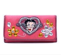 Betty Boop New Women Designer Floral Genuine Leather High Quality Zip Around Tough Cartoon Wallet with Rhinestone Heart