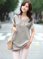 free shipping 2013 women's new short sleeve chiffon patchwork top blouse shirt