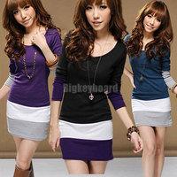 HK Free Shipping 2013 Ladies Womens Multi Colors Long Sleeve Blouse Striped Tunic Mini Dress Slim Bodycon Dresses S M XL
