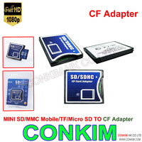 Free shipping NEW SDHC SD MMC SDHC to Compact Flash CF Type II Card Reader Adapter CF Card reader  SD/MMC /TF\\Micro SD  to CF