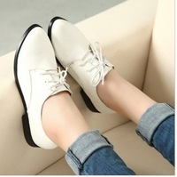 New 2014 Spring Autumn British Style Women Oxfords Leather Shoes Woman Flat Single Shoes