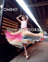2014 Saias Femininas Long Skirts Bohemian Women's Clothes Chiffon Summer Maxi Skirt 2 Colors