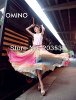 Free Shipping 2014 NEW Long Skirts Bohemian Women's Clothes Chiffon Maxi Skirt 2 Colors(Colorful red and Colorful blue)