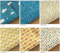 "Sensibility Rainbow Rain - 6 in 1 Cotton Linen Illust Fabric for DIY Quilt Sewing Patchwork Craft 85x144cm 33""x56"" Free Shipping"
