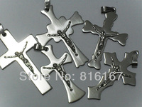 Free shipping Wholesale Mixed Lots 20pcs stainless steel cross crucifix Top Quality Pendent p5005