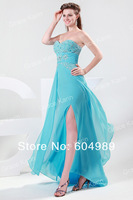 New 2014 Grace Karin Strapless Sexy Slit Evening Dress Beaded Formal Gown Elegant Chiffon Party Dress CL4417