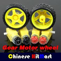 Hot Sales !!! Wholesale 1:48 Plastic DC Drive Gear Motor + Tyre Tire Wheel For Smart Car Robot High Quality 100pcs/lot #J148