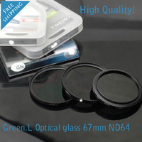 Green.L high quality Optical glass 67mm Neutral Density ND64 lens filter for cameras . Free shipping & Tracking Number .