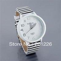 Wholesale Ladies Women Fashion Color Stripes Strap Wrist Watch (Blue,white,pink)