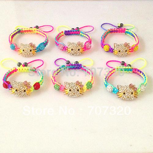 Minimal order $9.9 kids multicolour hello kitty macrame shamballa bead bracelets / bangle free ship(China (Mainland))