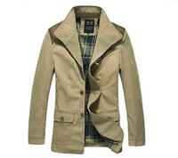 [Big Men]2013 new autumn men's single-breasted coat and long sections windbreaker