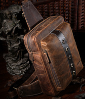 Men travel hiking messenger bag genuine leather,retro sling backpack,quality guarantee Free Shipping TIDING 3097