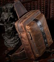 Men travel hiking messenger bag genuine leather,retro sling backpack,quality guarantee Free Shipping TIDING 3097