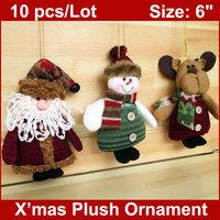 """10PCS/LOT  6"""" Christmas Felt  Applique Ornament Snowman Santa Tree Ornaments Decoration Gifts Decor"""