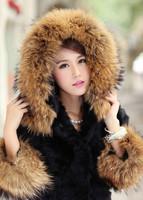 Free shipping Ex-work Winter 2013 Medium-long Faux Raccoon Fur Large Collar Rabbit fur coat Faux Fur coats women's outerwear