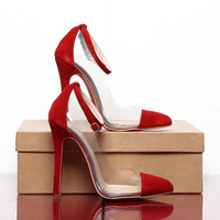 2013 Brand Sexy High Heel Shoes Designer Fashion Women Pumps Genuine Leather Red Bottom 11cm Heels Dress Party Shoes black/red