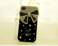 1PC Free Shipping Bulk 3d Butterfly Knot Design Luxury Diamond Bling Case Cover for iphone5 5g Hot Selling phone cases