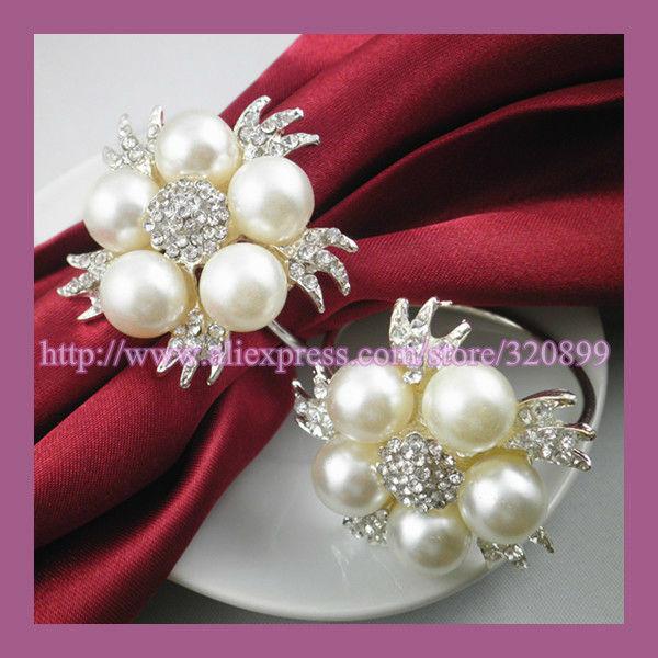 wholesale 120pcs lot pearl rhinestone wedding pearl napkin rings