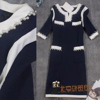 New European 2014 Winter Autumn Vintage Brand Luxury Pearl Beading Thicken Cotton Dresses Womens Elegant Plus Size Dress