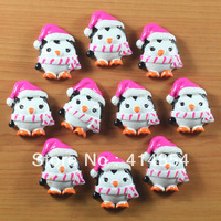 Wholesale 50pcs Penguin with Hot Pink X'mas Santa Hat Winter Resin Cabochon Flatback Flat Back Hair Bow Center Crafts Making DIY