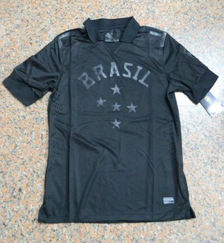 A+++ Brazil 2014 New Thai Brasil Black Training Soccer Jersey Thailand Player Version Football uniform Kit Custom