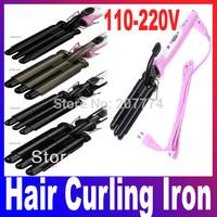 Free Drop shipping Professional Hair Curling Iron Wand Rollers Three Barrel Waver beautiful women110-220V (EU US Plug)
