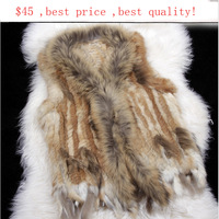 FREE SHIPPING*Knitted rabbit fur vest with finn raccoon fur collar mixed order