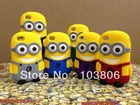 3D Mix color soft Silicon 3D Soft Silicone Despicable Me Minions Back Cover Case For Apple iPhone 4 4G 4S