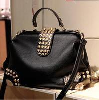 2014 Hot  sale Designer Metal Rivet Handbag PU Women Messenger Bags women Leather Handbags women's hand bag Shoulder bag