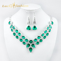 Luckyshine Fashion Women Crystal Jewelry Silver Plated Charms Nacklace & Earrings Trendy Jewelry Set