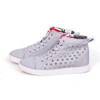 2013 Free Shipping Canvas Rivet High Shoes Fashion Casual Man Skateboarding Shoes Fashion Hip hop Shoes flats Sneakers 981