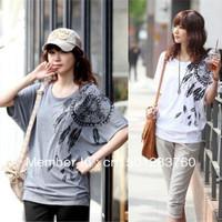 Explosion models 2013 Korean large size women fat MM loose bat sleeve round neck printed short-sleeved T-shirt free shipping