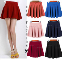 2013 New Fashion Autumn Solid Color Stretchy Waist Jersey Pleated Skater Flared Mini Skirt Black/Red 12 Colors HK Free Shipping