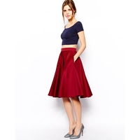 Free shipping summer 2014 new women Plus Size Double pocket pleated high waist gloss submersible fabric skirt  XS-XXL