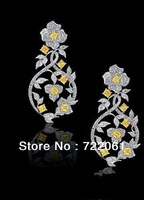 Spot sales agents and 925 silver inlaid colored gems earrings female flowers