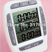 Free Shipping,Digital Stopwatch Interval Countdown Timer Digital LCD Multi-Channel Laboratory 3 Channel Timers 99 Hours