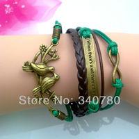 5 pcs Free shipping bracelets for women leather bracelet infinity loving birds on the branch charm Bracelet bronze Bracelet