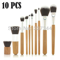 Hot Sale~ Professional 10 PCS Natural Bamboo Brushes Kits Make up Brush Set Cosmetic Tool & Fabric Case Gift Free Shipping