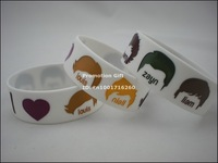 "I Love 1D, One Direction Wristband, Silicon Bracelet, Louis, Niall, Harry, Zayn, Liam, 1"" Wide Band, 50pcs/Lot, Free Shipping"