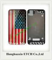 1PCS Free shipping Retro OLD Glass USA United States Flag Back Housing Cover Battery Door assembly for iPhone 4