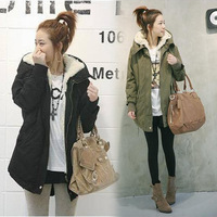 2014 NEW Womens Winter Thicken Warm Hooded Military Jackets Fleece Zip Trench Coats Wool Outwear # L0341346