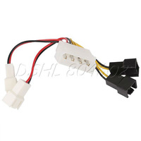 Brand New PC 4-Pin Convert to Fan 2pin 3pin 2x12V 2x5V Splitter Cable Connector