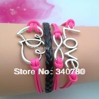 5 pcs Free shipping silver bracelet heart to heart bracelet love infinity bracelet women friendship bracelets & bangles TX001