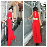 One Piece Trendy Designer Halter Jumpsuit Black/Red/Roseo High Waist Jean Womens Rompers Belt Roupas Femininas Macacao Curto
