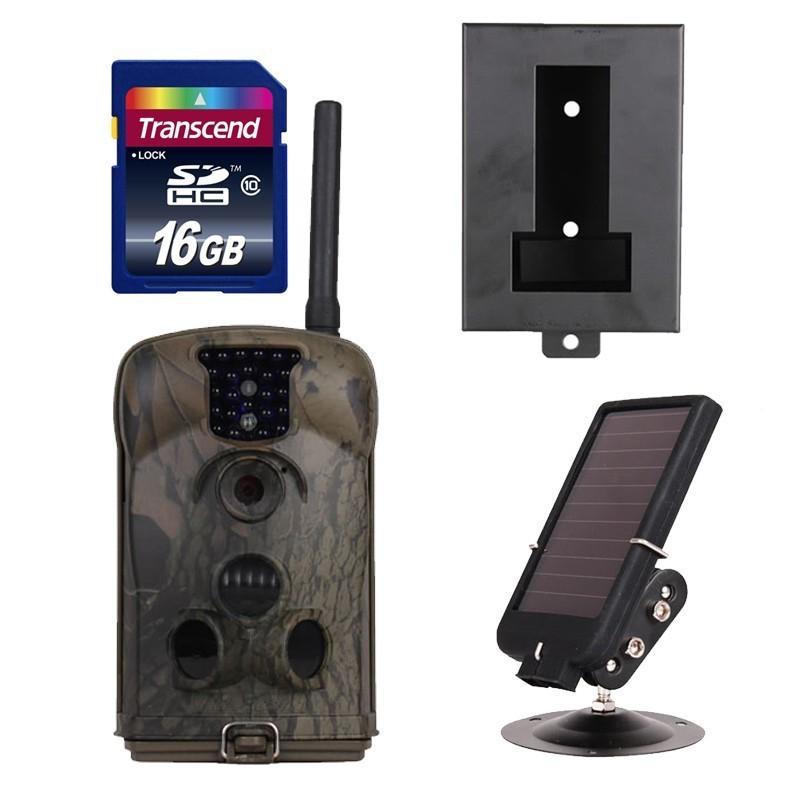 Free Shipping!16GB+Ltl 6210MM MMS Trail Scouting Hunting Game Camera+Solar Battery+Metal Box(China (Mainland))