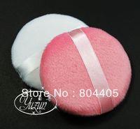 high quality Pink and White Short plush  powder puff,  makeup puff, velvet cosmetic  powder puff   20pcs/lot