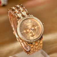 High Quality Geneva Brand Stainless Steel Crystal Wrist Watch Women Ladies Quartz Watch  genevas
