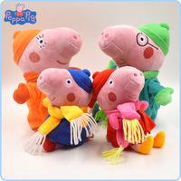 Peppa Pig Brinquedos Winter Family Peppa Pig 4pcs/set Toys & Hobbies Washable Scarf Peppa Pig Cute Toddler Plush Toys